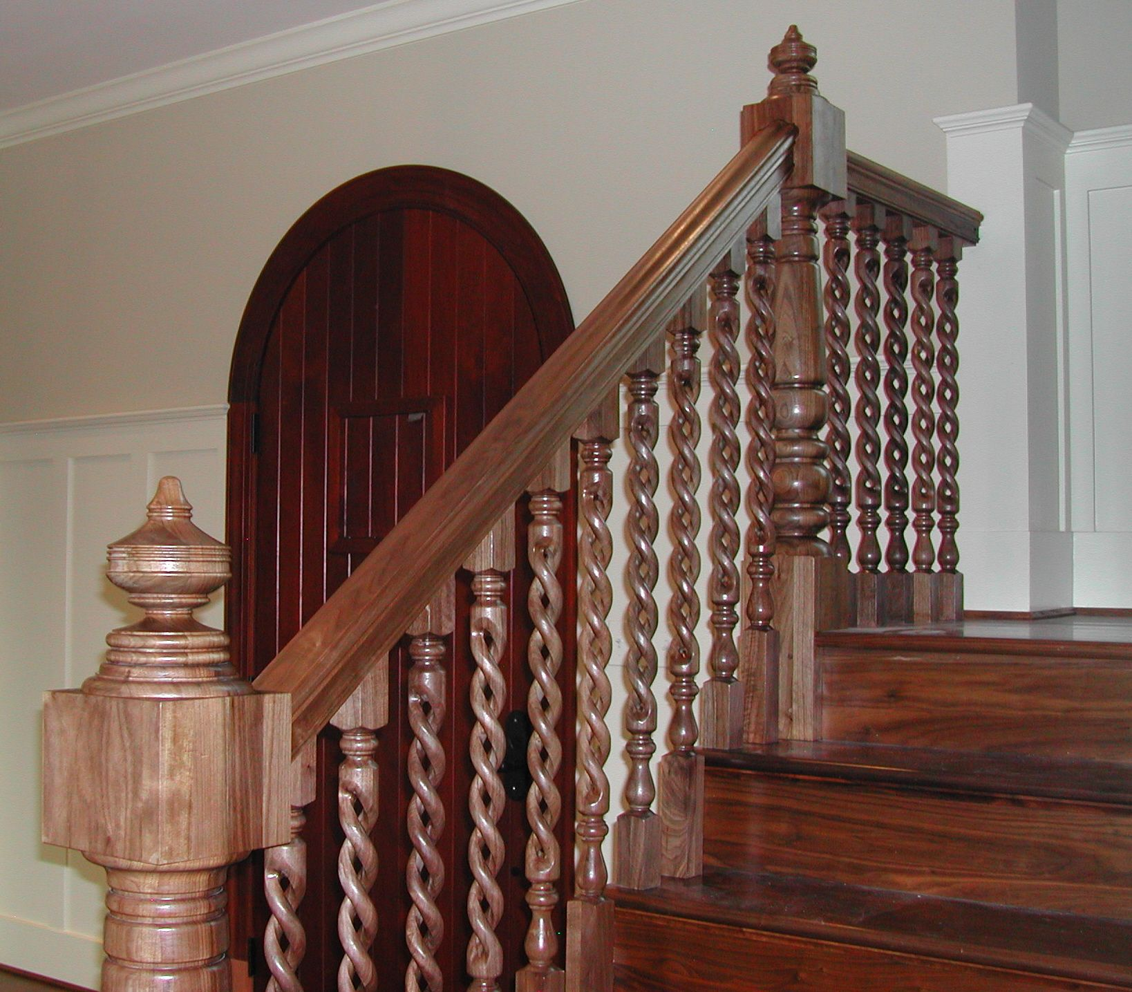 Beautiful Interior Staircase Ideas And Newel Post Designs: Railings, Newel Posts And Custom Rope Twist Balusters