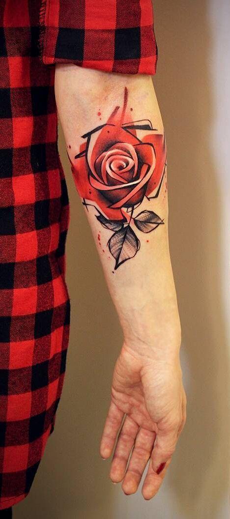Photo of beau tatouage de rose aquarelle sommaire © tatoueur Ewa Sroka 💗🌹💗 …