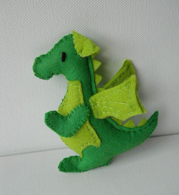 miniature felt dragon by Treacher Creatures, via Flickr