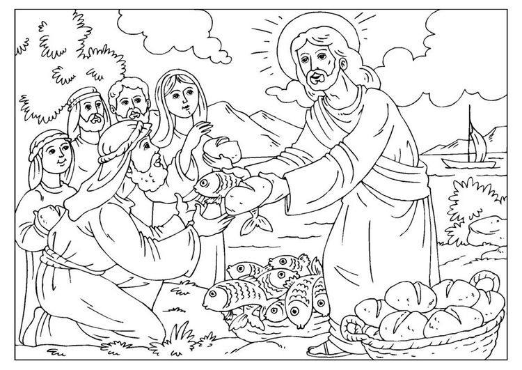 Coloring page loaves and fishes sunday school for Loaves and fishes bible story