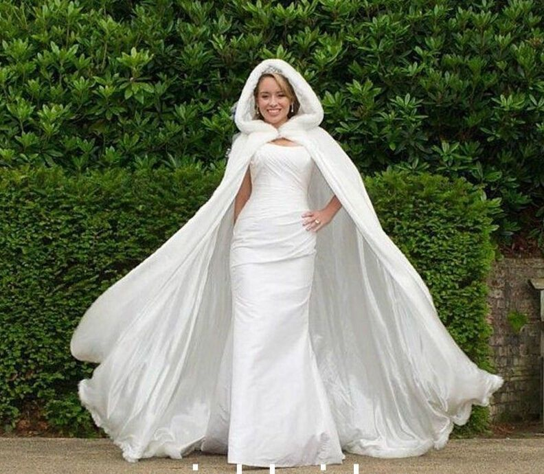 Bridal Winter Warm Long Wedding Cloak Cape White Faux Fur Size S L