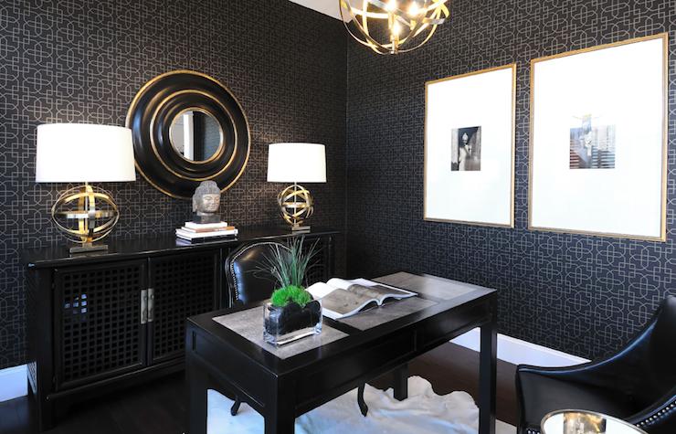 Suzie Atmosphere Interior Design Black Bold Zen Office Den
