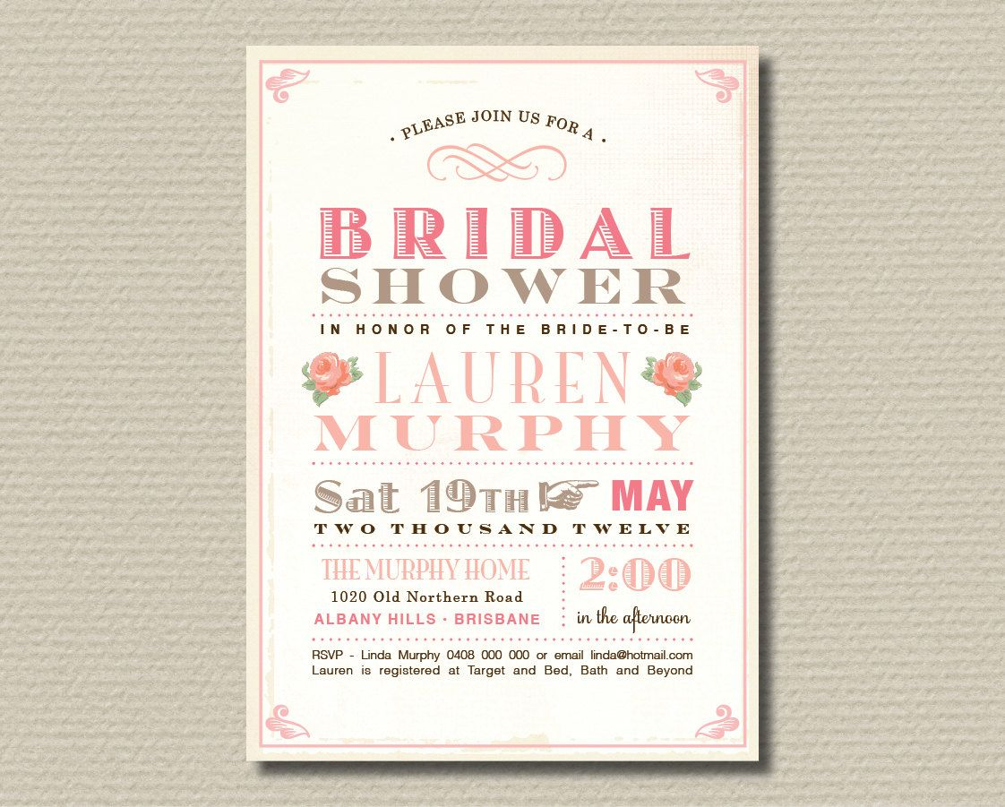 Printable Bridal Shower Invitation - Sweet soft pink & brown vintage poster design (BR20). $15.00, via Etsy.
