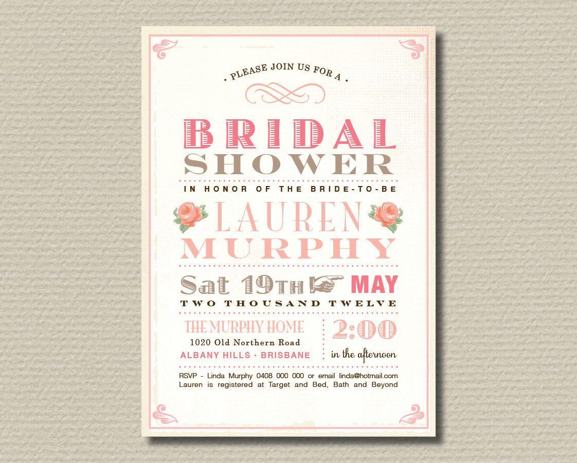Printable Bridal Shower Invitation - Sweet soft pink & brown vintage poster design (BR20). $15.00, via Etsy.