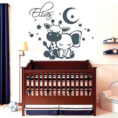 11069 Wandtattoo Elefant Giraffe Schlafen Sterne Mond Kinderzimmer