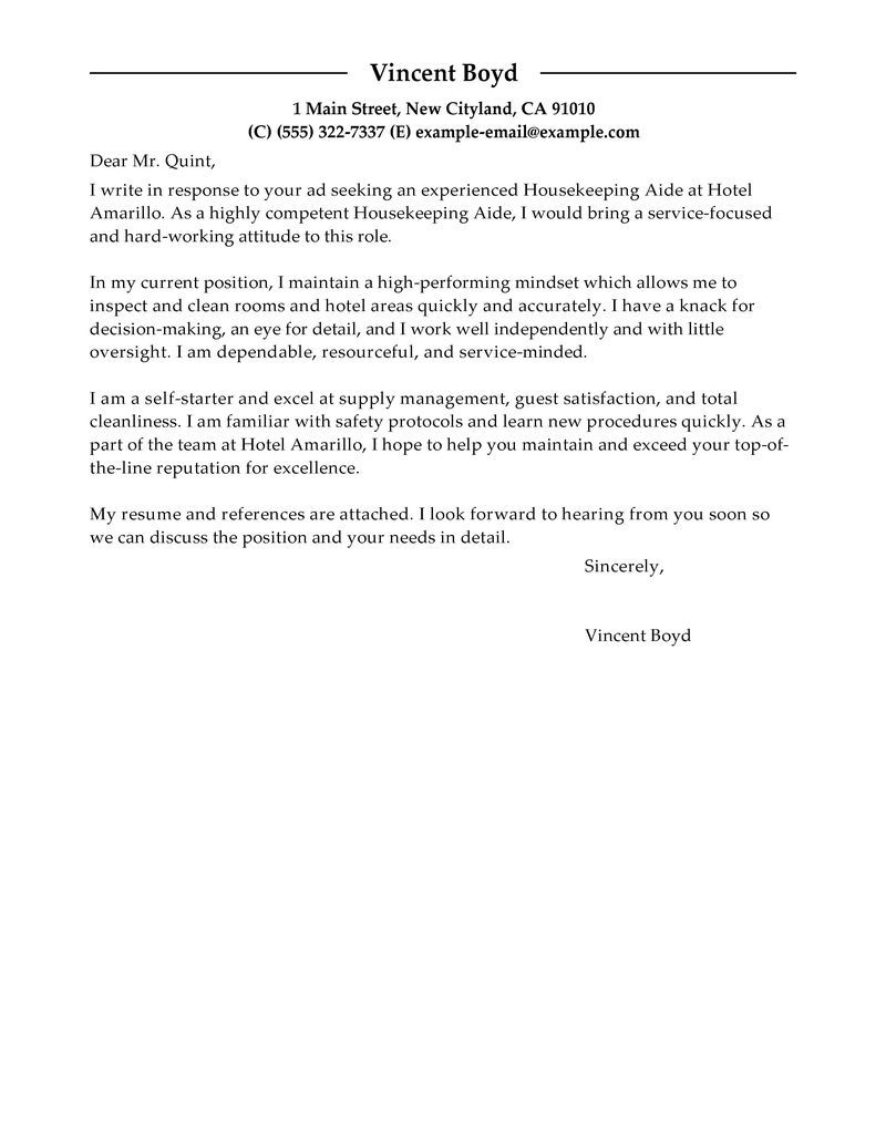 Housekeeping Cover Letter Best Housekeeping Aide Cover Letter Examples Livecareer For