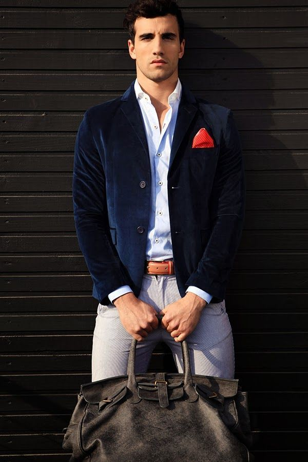 Men's Navy Velvet Blazer, White Long Sleeve Shirt, Grey Chinos ...