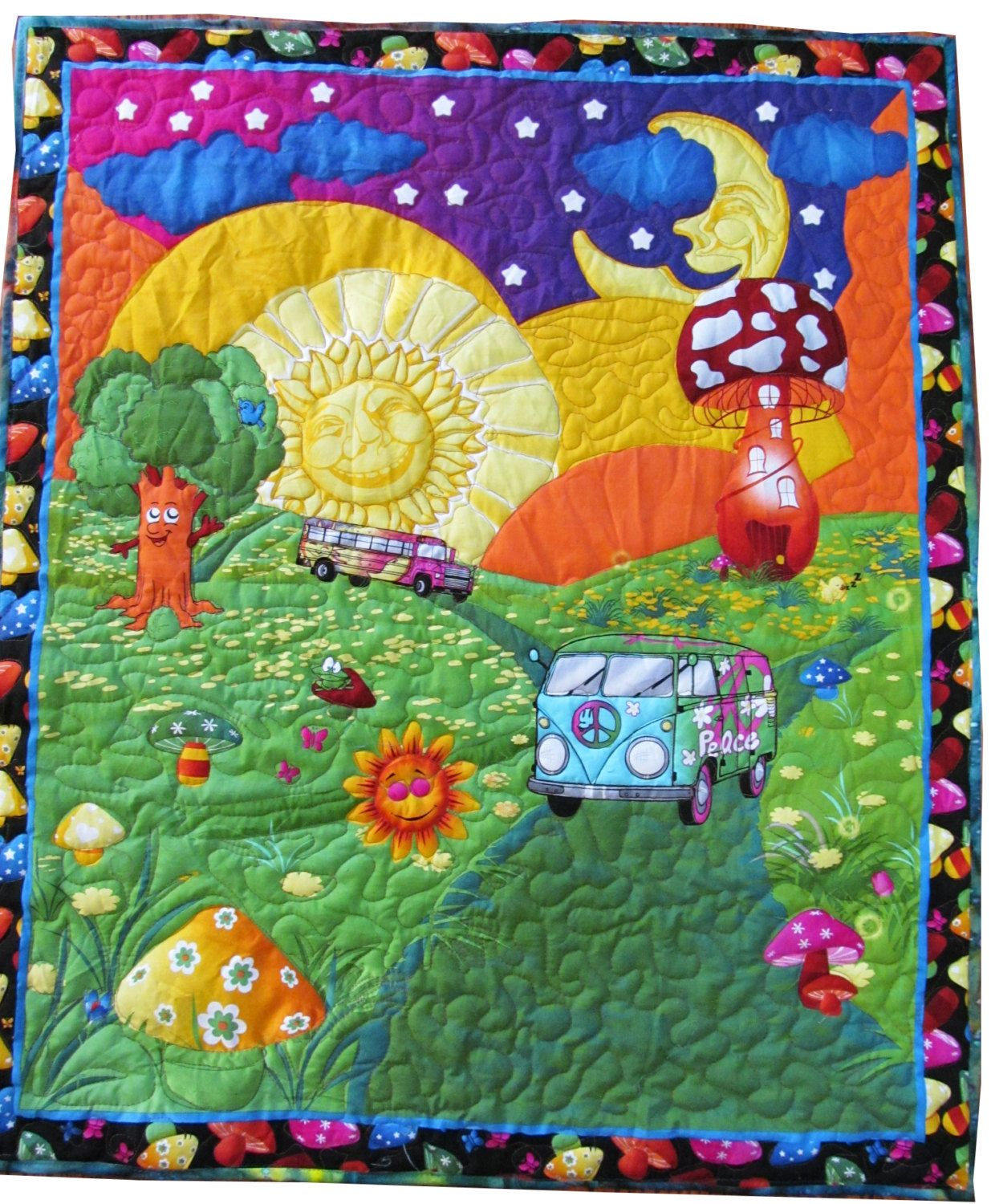 Baby quilt child quilt kids 34 x 40 psychedelic lap for Childrens quilt fabric