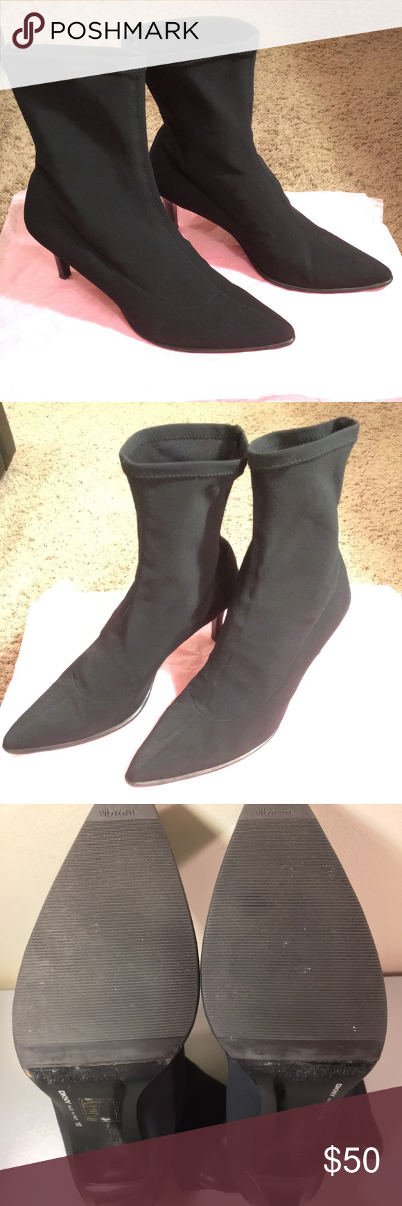 DKNY BLACK POINTY HIGH HEEL BOOTS POLYESTER BLEND This DKNY Boots is Great condition . No Box  Designer:  Dkny  Style:  Pointy Black  Material: Polyester Blend  Size: 10 DKYN Shoes Ankle Boots & Booties