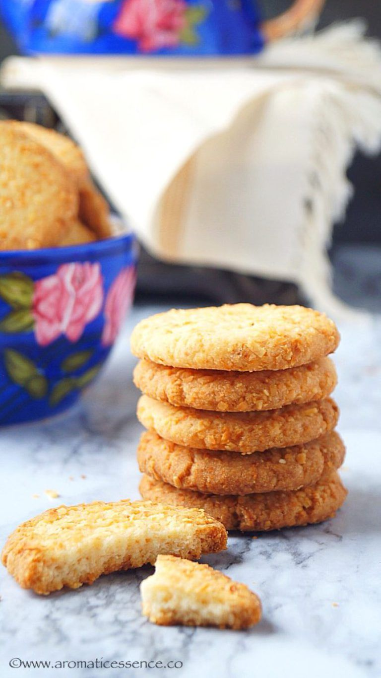 Eggless Coconut Cookies Recipe Indian Style Crispy Coconut Biscuits Recipe Coconut Cookies Recipes Cookies Recipes Indian Coconut Biscuits