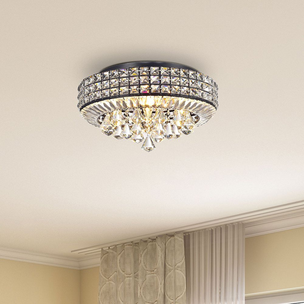 The jolie antique black 4 light crystal round flush mount chandelier craft the jolie antique black 4 light crystal round flush mount chandelier arubaitofo Image collections