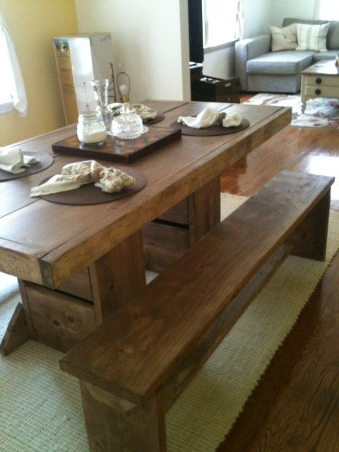 7 Foot Double Trestle Table And Two Long Matching By ModernRust