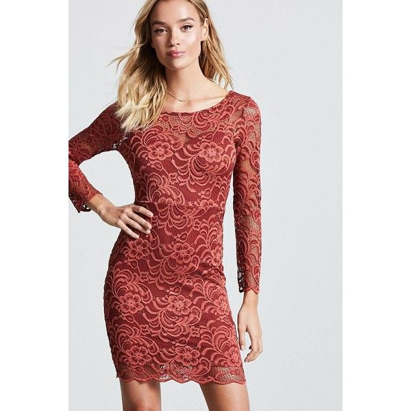 765432b2066e Forever21 Floral Lace Bodycon Dress ($14) ❤ liked on Polyvore featuring  dresses, rust, red body con dress, long-sleeve maxi dresses, floral dresses,  ...
