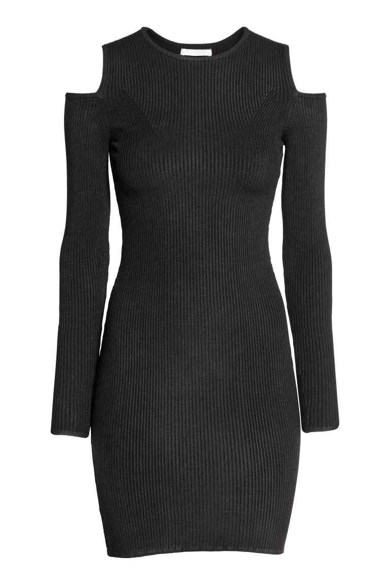 4794d0490 Vestido com ombros recortados   H&M. Vestido com ombros recortados   H&M Vestido  Curto Manga Longa, Vestido Preto ...