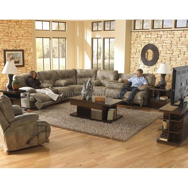 Voyager lay flat reclining sectional living room set in - Discount living room furniture near me ...