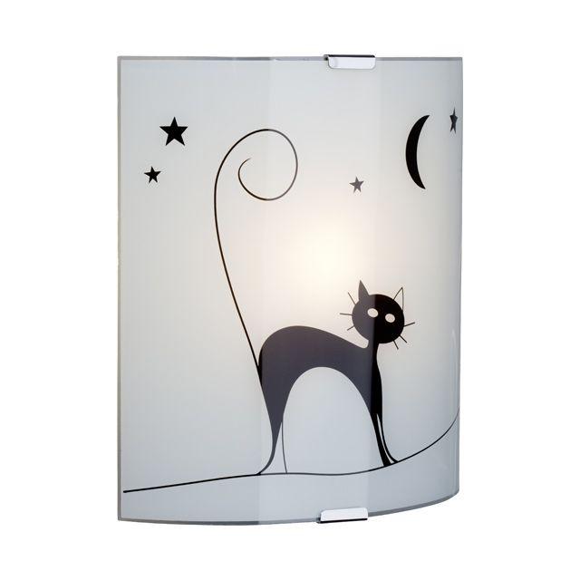 Applique Noire/Blanche Cat H.26cm 60W - CASTORAMA | luminaires ...