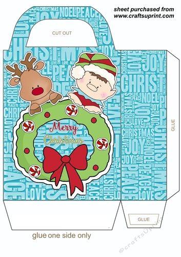 Santas little helpers gift bag   Downloadable Craft Card Making ...