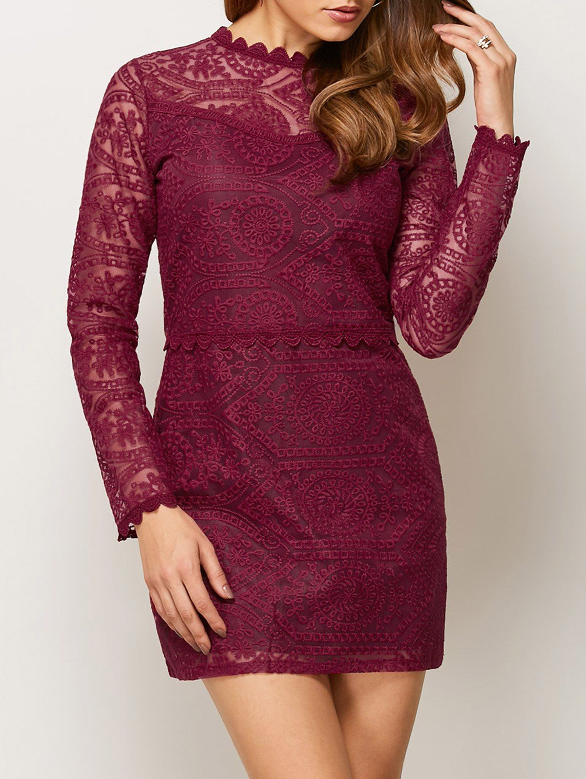 Lace ruff collar mini dress click clothing shoes jewelry