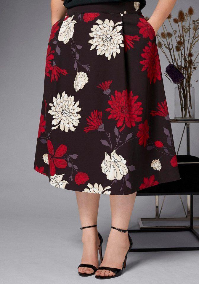 9f3cddf7f0ba4a GMK Curvy Collection A-Linien-Rock mit floralem Design | Fashion ...