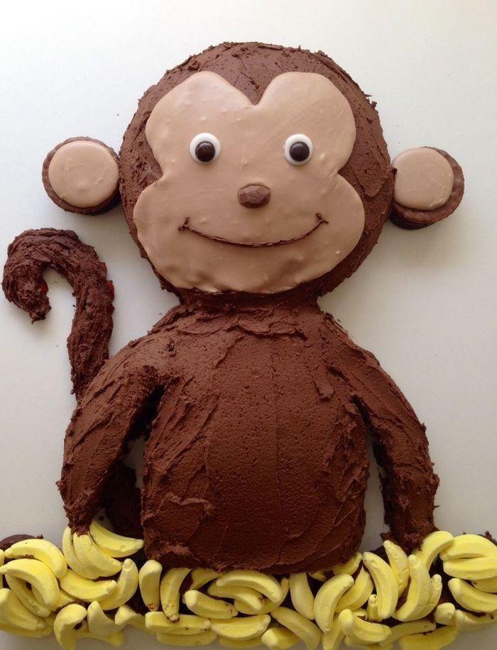 idea for a monkey birthday cake with chocolate icing decoration - Loïc - coffee ...   - Yummy Kuchen -