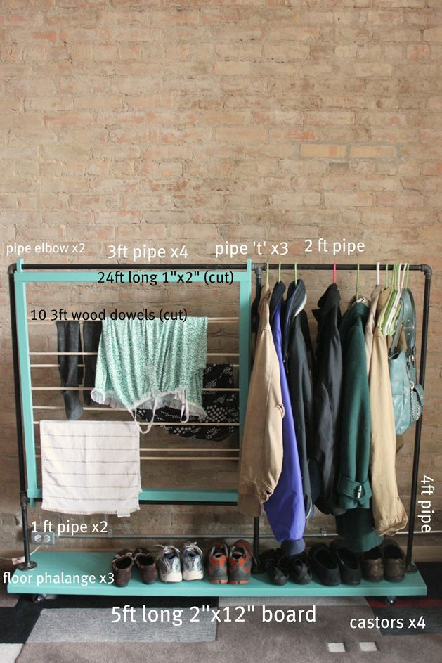 The space in my closet is maxed out, which is why I love to keep my favorite clothes right where I can see them- in a nice big pile on the floor. I am very inspired by this coat rack tutorial from splitthelark. Meghan makes it look very doable, and I think I might even be able to skip step 1!