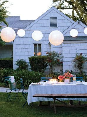 Awesome Hereu0027s A Great Idea For A Summer Backyard Dinner Party! A Simple White  Tablecloth, String Lights, And White Paper Lanterns Can Add An Air Of  Festivity And ...