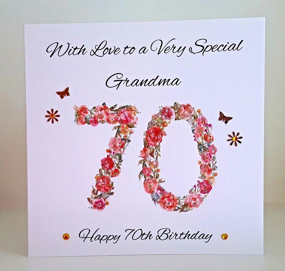 PERSONALISED HANDMADE 70th Birthday Card GRANDMA MUM NAN SISTER 90th 80th