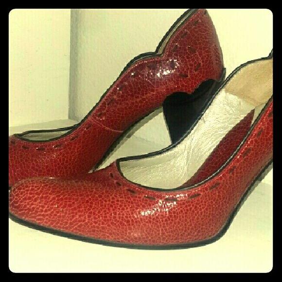 John Fluevog Shoes - John Fluevog Apple red leather heels, womens 8
