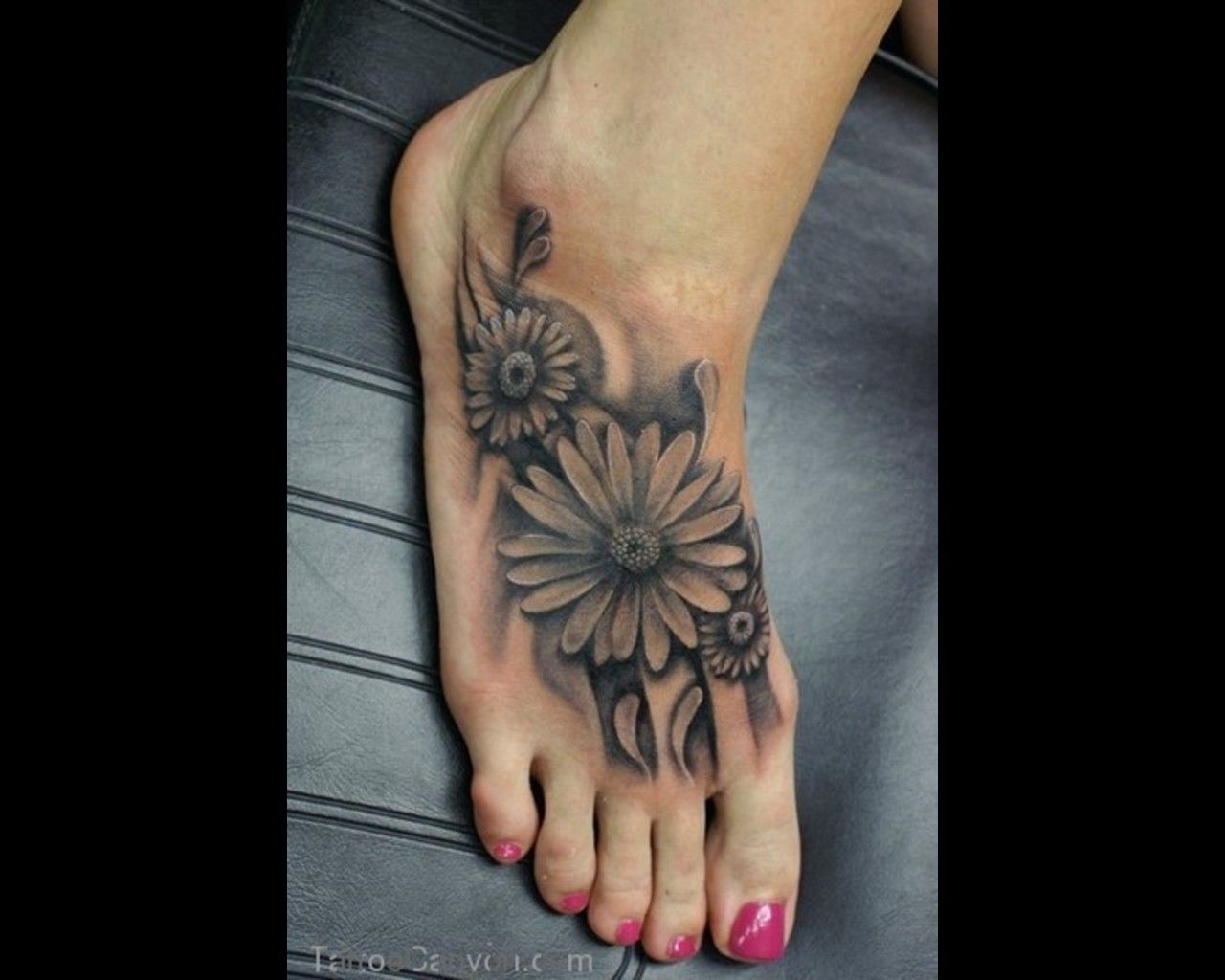 Large Foot Tattoo Designs Google Search Tattoos For Women Flowers Sunflower Foot Tattoos Foot Tattoos
