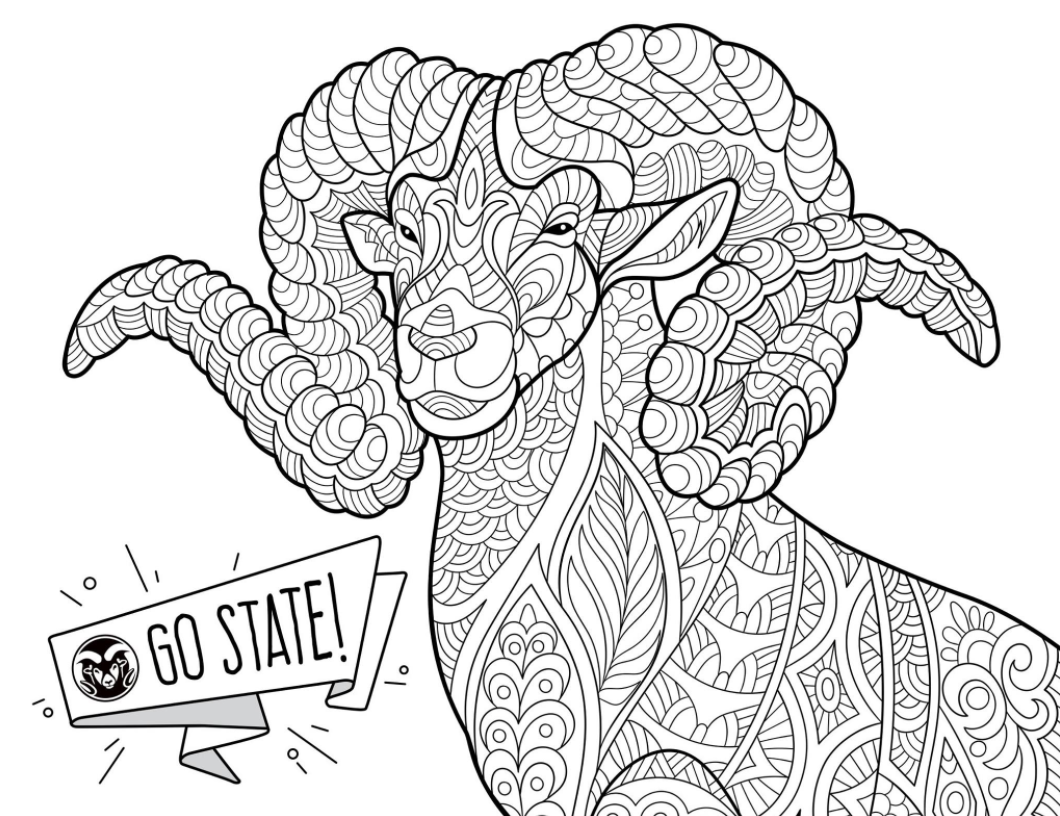 CAM the Ram coloring page perfect for a study break