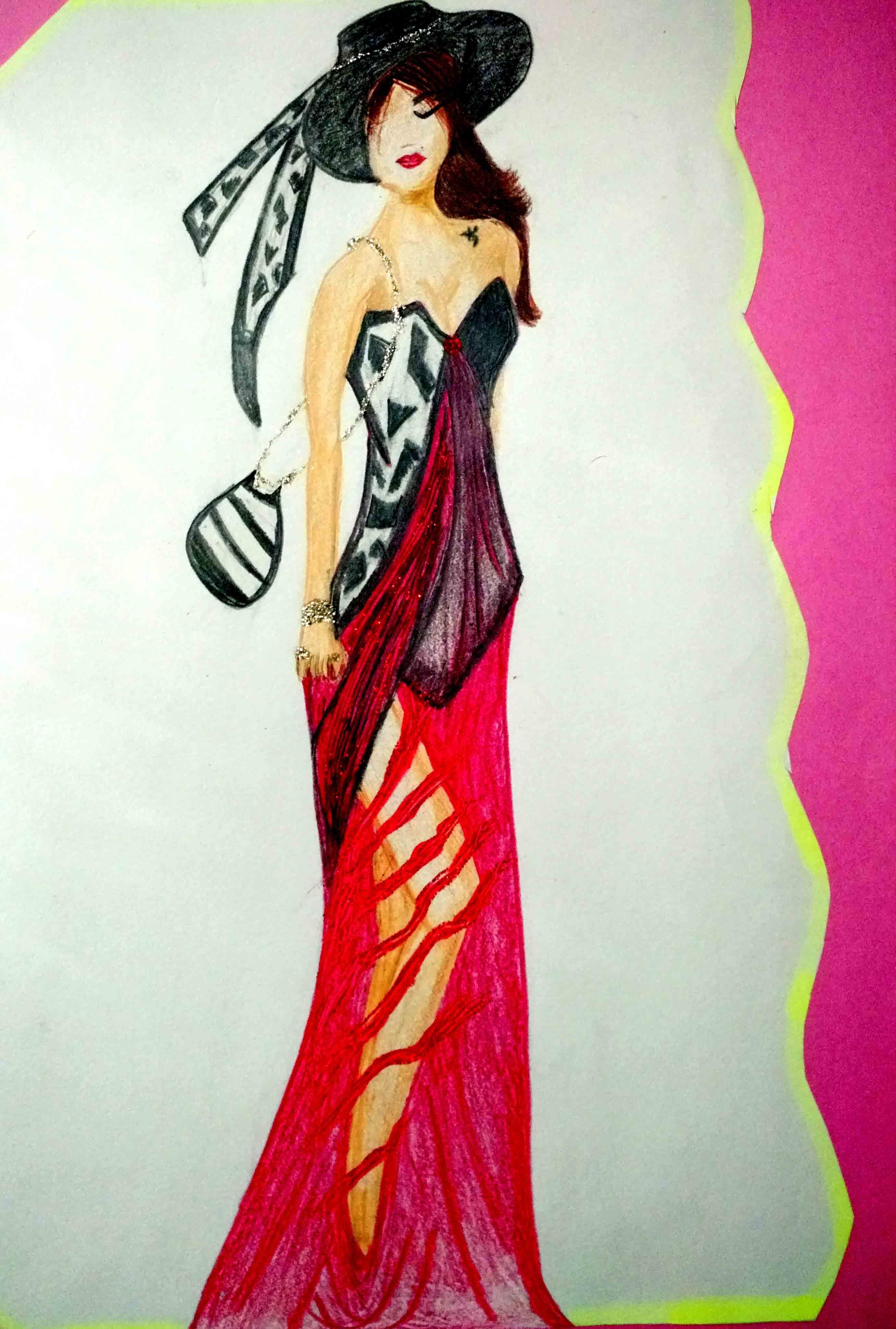Fashion illustration with sparkles and steadlers