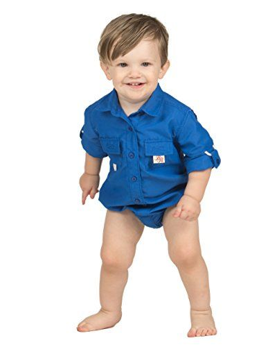 122ec973344 BullRed Baby Boys Royal PFG Vented Fishing Shirt Button U... | Baby ...