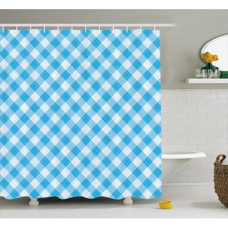 Checkered Shower Curtain, Blue and White Gingham Fabric Texture ...