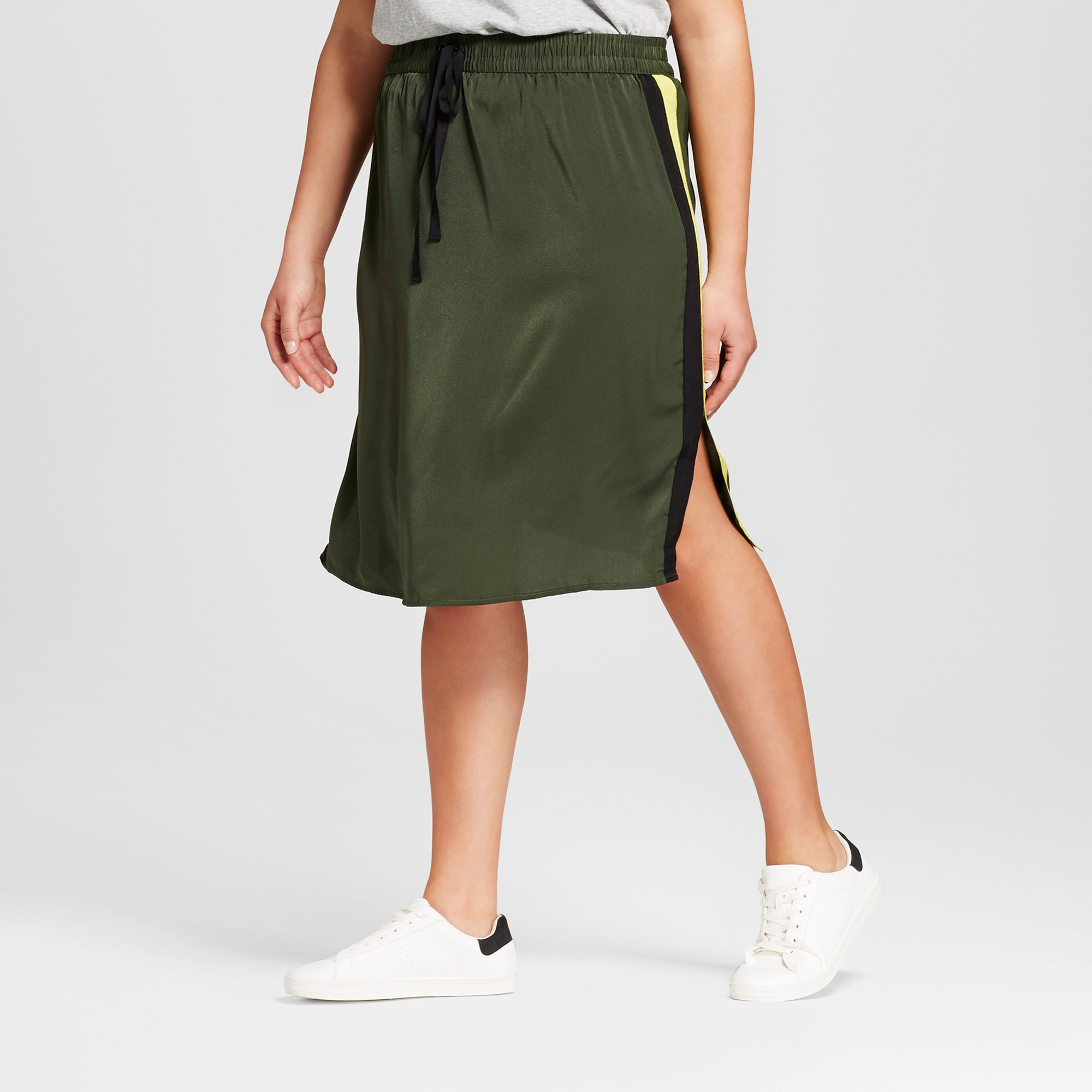 d937aa6a43e5b Women s Plus Size Silky Track Skirt - Who What Wear Olive (Green) 1X ...