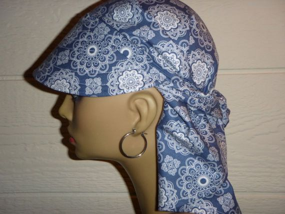 A Chemo or Sun Hat/Scarf - Blue and White www.hellocourage.com