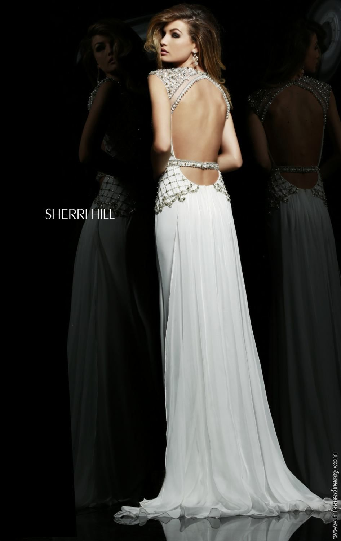Ivory 2015 Sherri Hill 4327 Sexy Back Beaded Evening Dress