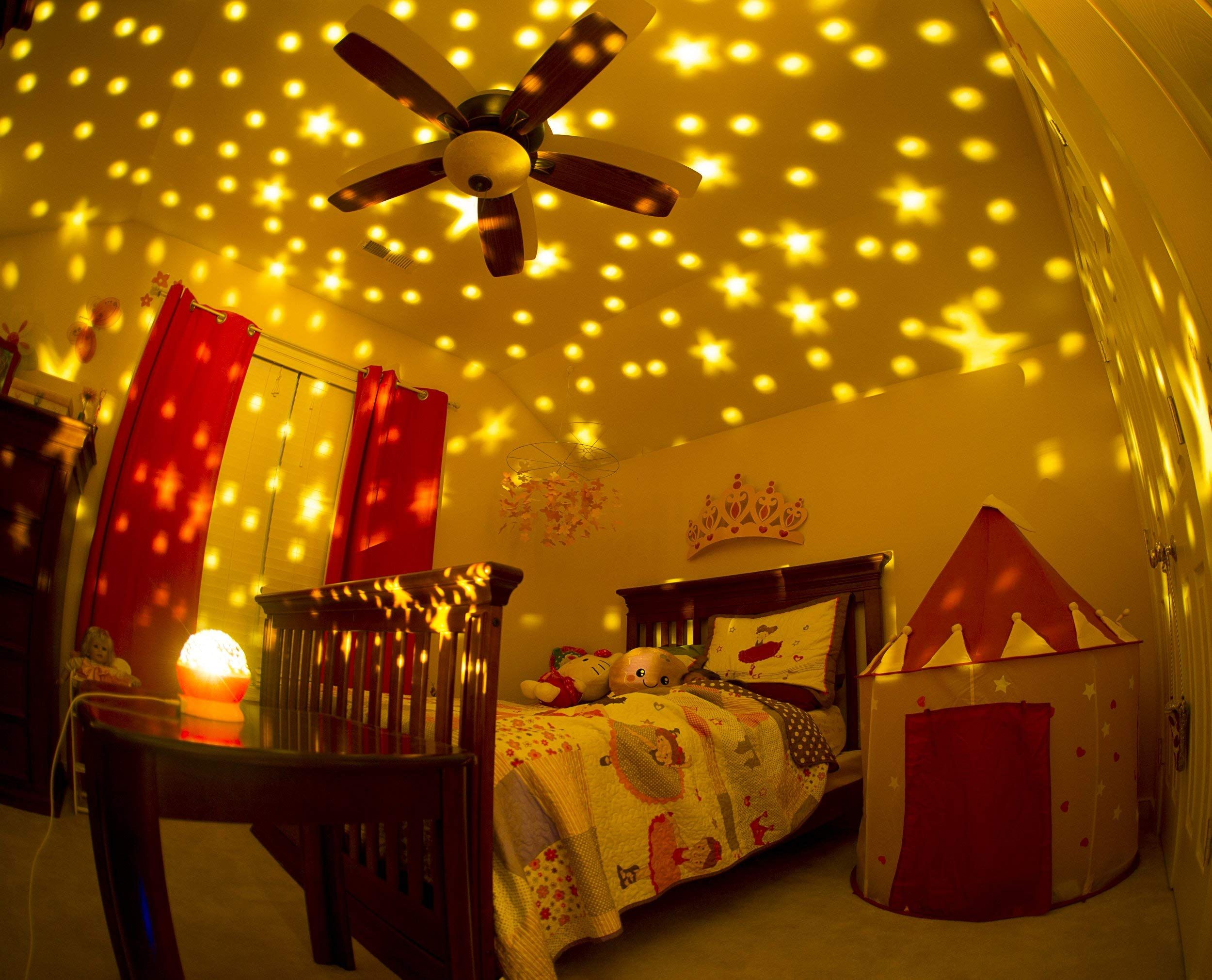 Kids Night Light For Girls Boys Babies Toddlers 4 Led Bulbs Moon Star Projector Night Light La Night Light Kids Christmas Gifts For Boys Girls Bedroom Lighting