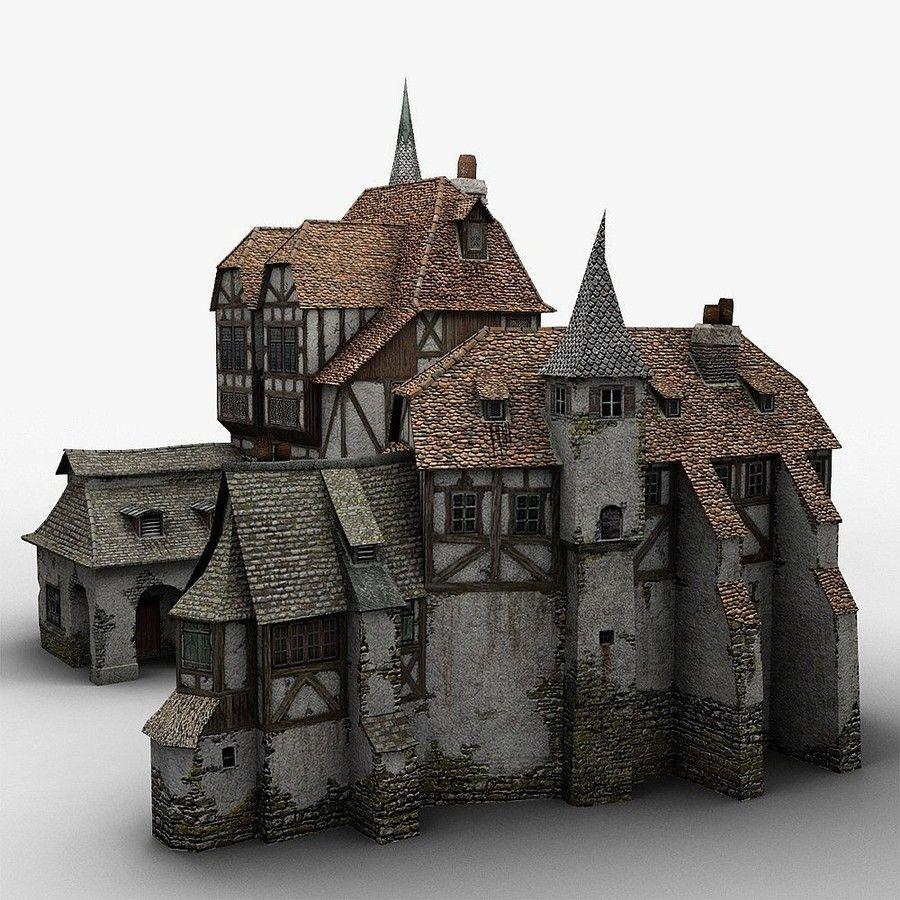 Old medieval warehouse 3d obj city ideas pinterest for 3d fachwerk