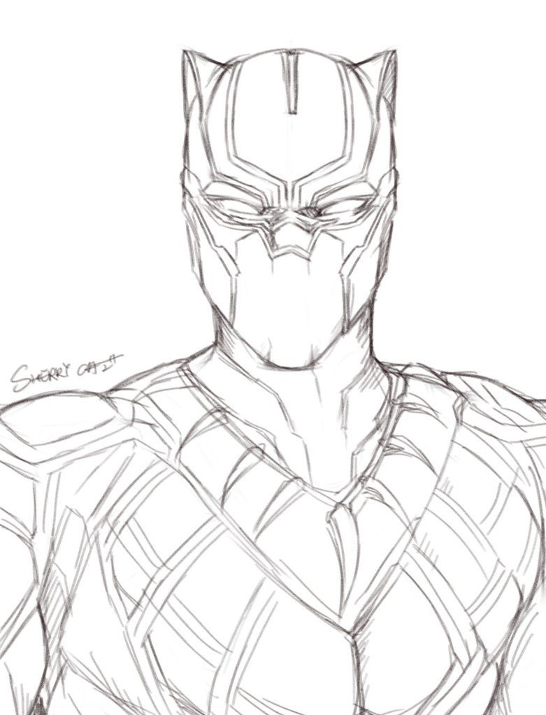Easy Black Panther Drawing : black, panther, drawing, Black, Panther, SherryCai, Drawing,, Marvel, Drawings,, Avengers, Drawings