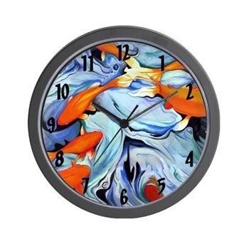 Fire Water Wall Clock from cafepress store: AG Painted Brush T-Shirts. #fish #clock #abstract