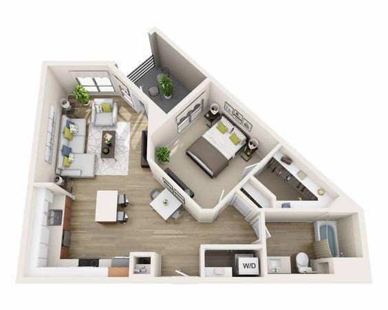 50 Plans en 3D du0027appartement avec 1 chambres Apartments - simulateur de maison 3d gratuit