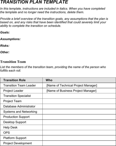 Transition plan template templates forms pinterest for Software project transition plan template