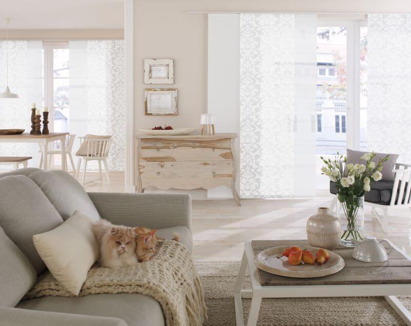 wohnzimmer flaechenvorhang schlicht weiss ❤ Vielfältige Plissees - gardinen fürs wohnzimmer