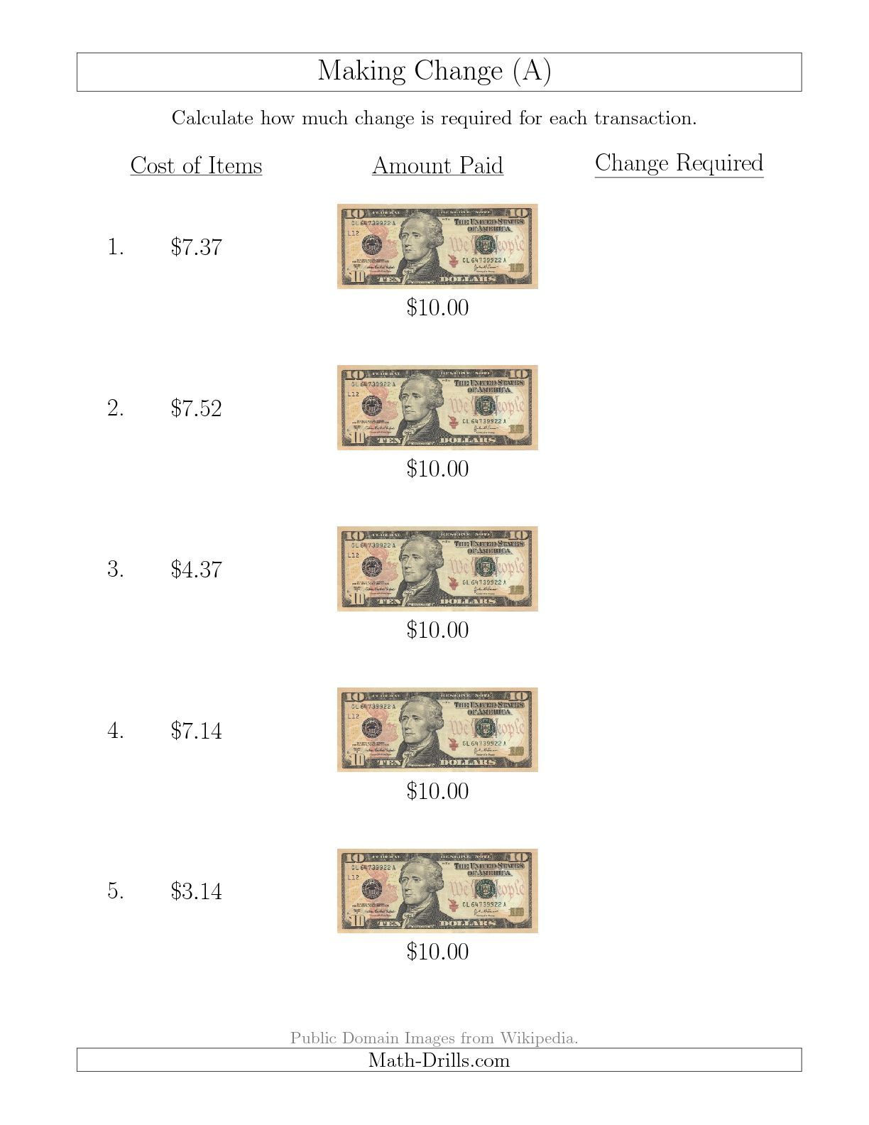 The Making Change From U S 10 Bills A Math Worksheet