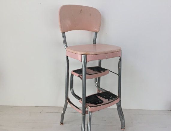 Pale Pink Cosco Kitchen High Chair 1950s Step by aforkintheforest