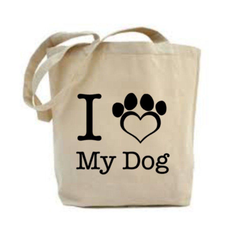 I Love My Dog Paw Print  Shopping Tote Bag