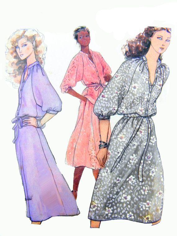 Retro 1979 Butterick 6480 p.j. Walsh New York Kleid, Raglan Ärmel ...