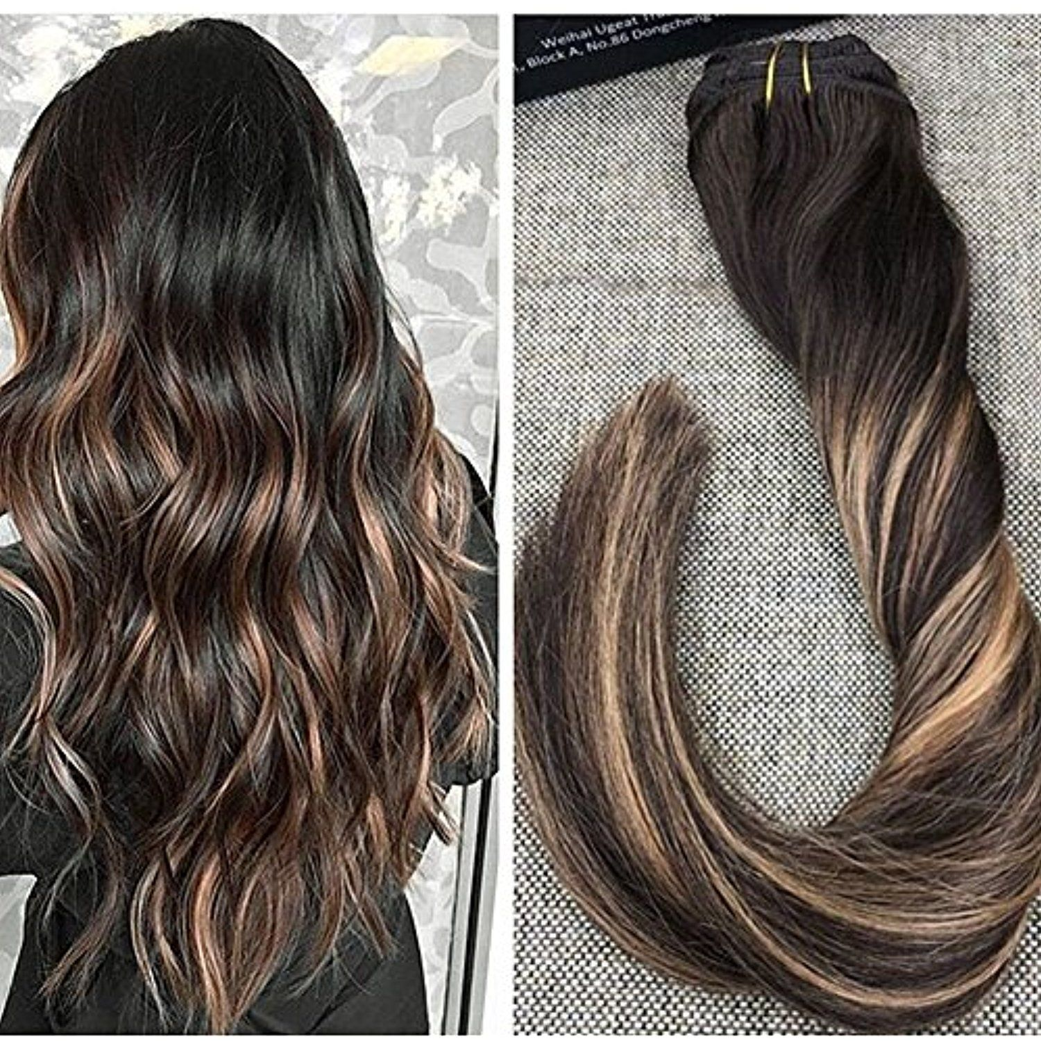 Ugeat 14 Inch 7pcs 120 Gram Balayage Ombre Clip In Real Human Hair Extensions Balayage Color Darkest Brown Balayage Hair Hair Color Balayage Balayage Hair Dark