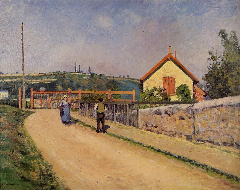 WikiArt.org - the encyclopedia of painting - The Railroad Crossing at Les Patis - 1873-1874