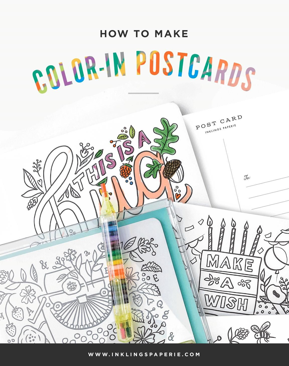 QUARANTINE FUN FOR KIDS!! This cute 12-pack Color-In Postcard Kit from #InklingsPaperie includes an amazing retro pencil and an assortment of postcards to color and mail! #kids #summercraft #quarantinecraft #coloringsheet #summerideas #summerfun #coloringbook #kids #craftsforkids #quarantine #postcards #diypostcard